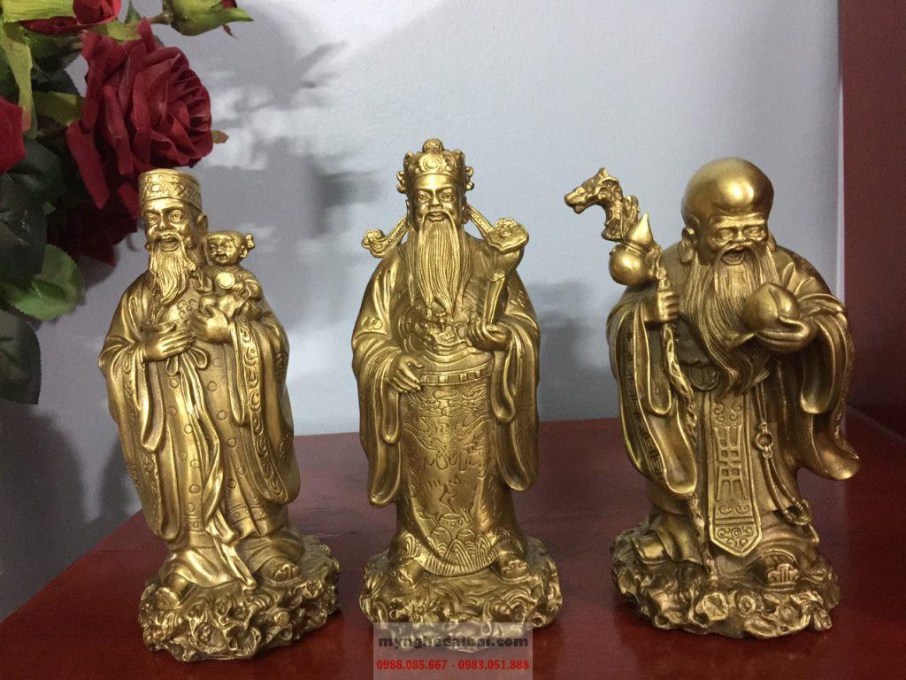 Phúc Lộc Thọ chất liệu đồng vàng